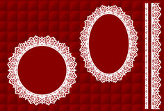 Lace Frames on Red Quilted Background. Decorative oval and round lace doily picture frames and trim on red quilted background for Christmas, Valentines day Stock Photo