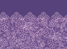 Lace grape vines horizontal seamless pattern Royalty Free Stock Photo