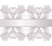 Lace Greeting delicate card in pink powder color. Vector illustration Royalty Free Stock Image