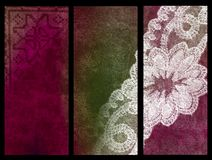 Lace grunge banners. Set of three abstract vertical banners Stock Photo