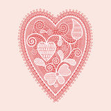 Lace heart. Valentines day card Royalty Free Stock Image