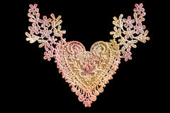 Lace Heart on Black stock photography