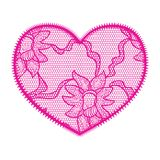 Lace heart pink applique Stock Photos