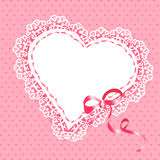 Lace heart with ribbon Royalty Free Stock Images