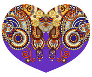 Lace heart shape with ethnic floral paisley design for Valentine Royalty Free Stock Photos