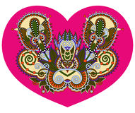 Lace heart shape with ethnic floral paisley design for Valentine Stock Images