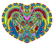 Lace heart shape with ethnic floral paisley design for Valentine Royalty Free Stock Image