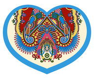 Lace heart shape with ethnic floral paisley design for Valentine Stock Photos