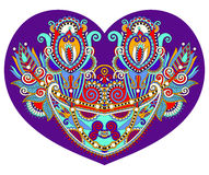 Lace heart shape with ethnic floral paisley design for Valentine Royalty Free Stock Images