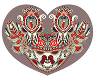 Lace heart shape with ethnic floral paisley design for Valentine Royalty Free Stock Photography
