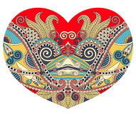 Lace heart shape with ethnic floral paisley design for Valentine Stock Photo