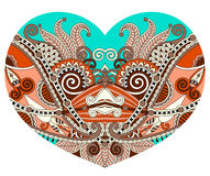 Lace heart shape with ethnic floral paisley design for Valentine Stock Image