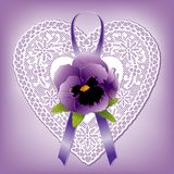 Lace Heart Vintage Doily, Victorian Style Gift Ornament, violet Pansy and ribbon royalty free illustration