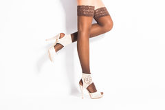 Lace hold ups stockings stock photography