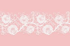Lace Horizontal Seamless Openwork Roses. White Lacy Mesh On A Pink Background. Stock Image