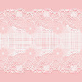 Lace horizontal seamless ribbon with cloth for design. White floral pattern on a pink background. Stock Images