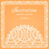 Lace Invitation Card, floral and geometric. Background Stock Image