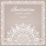 Lace Invitation Card, floral and geometric. Background Royalty Free Stock Photo