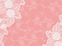Lace invitation. design template sample wedding invitations and cards. White lace on a pink background. Stock Images