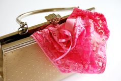 Lace knickers in bag Royalty Free Stock Photography