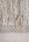 Lace and linen fabric on the old wood Stock Photography
