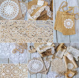 Lace and linen home decorations Stock Images