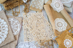 Lace and linen home decorations Stock Image