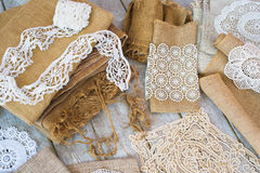 Lace and linen home decorations Royalty Free Stock Photography