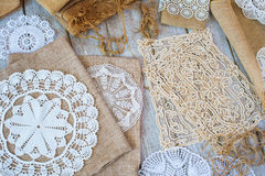 Lace and linen home decorations Royalty Free Stock Photo
