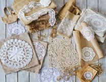 Lace and linen home decorations Royalty Free Stock Images