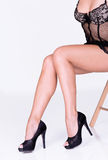 Lace lingerie and black heels Royalty Free Stock Images