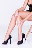 Lace lingerie, black heels and manicure Royalty Free Stock Images