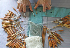 Lace-making - bobbin lace Stock Photography