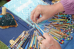 Lace making craft hobby Stock Photo