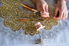 Lace-making - crocheting Royalty Free Stock Images