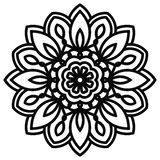 Lace mandala in zentangle style. Top view of black fantasy flower. Royalty Free Stock Image