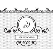 Lace Mongram D. Letter D black lace monogram, stitched on seamless tulle background with antique style floral border. EPS10 vector format vector illustration