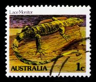 Lace Monitor Varanus varius, Reptiles and Amphibes serie, circa 1983. MOSCOW, RUSSIA - OCTOBER 3, 2017: A stamp printed in Australia shows Lace Monitor Varanus Stock Photography