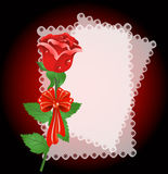 Lace napkin and rose Royalty Free Stock Images