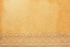 Lace on old  paper Royalty Free Stock Image