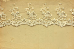 Lace on the old paper Stock Images