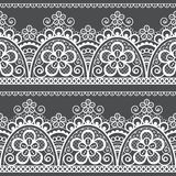 Lace openwork seamless vector pattern, retro ornamental repetitive design with flowers and swirls in white on gray background. Unique lace frame collection stock illustration