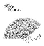 Lace ornament fan. In hand-drawn style. Invitation card card Royalty Free Stock Photo