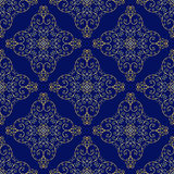 Lace ornament golden curls. Seamless square ornament square ornament , on a dark blue background Stock Images