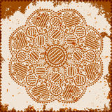 Lace ornament on grunge background. Vector illustration Stock Images