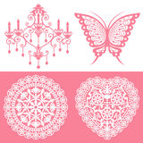 Lace ornaments set. Set of gorgeous decoration. Vector illustration Royalty Free Stock Image