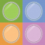 Lace oval frame with glass on the background polka dots. Set Stock Photos