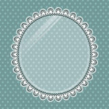 Lace oval frame with glass on the background polka dots Stock Photography