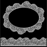 Lace oval frame and seamless stripe. Vintage white Stock Photography