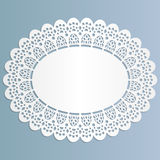 Lace oval paper doily, stand for lace cake,  greeting element package Stock Photos